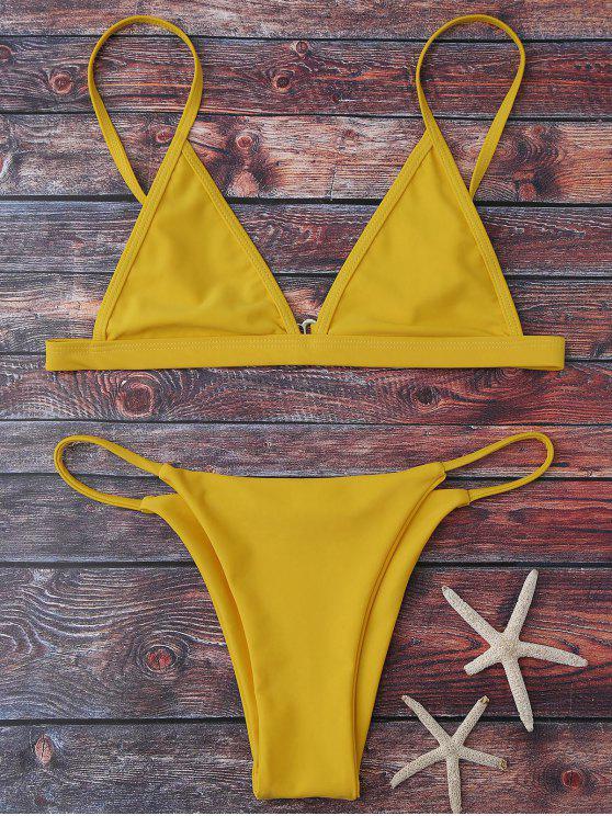 lady Cami Plunge String Bikini Set - YELLOW L