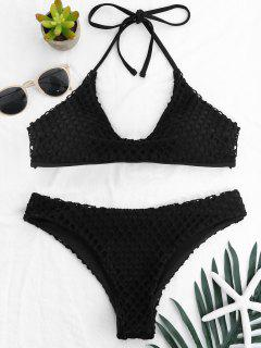 Low Waisted Halter Mesh Bikini Set - Black L
