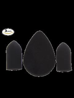 3 Pièces Beauty Blender Éponges En Forme De Doigts Et Goutte D'Eau - Noir