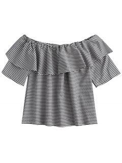 Off Shoulder Ruffle Striped Top - Black M