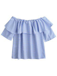 Off Shoulder Ruffle Striped Top - Blue S