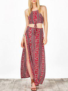 Lace Up Crop Top And Printed High Slit Skirt - Red S