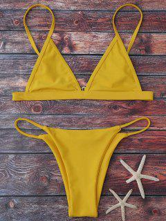 Traje De Bikini De Tirante Fino Con Escote Pico - Amarillo S