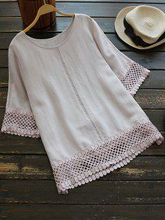 Oversized Crocheted Lace Top With Ladder Detail - Pale Pinkish Grey