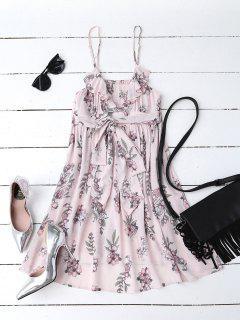 Blumendruck Flounced Strand-Kleid - Rosa S