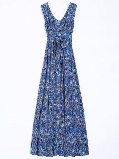Belted Paisley Print Maxi Dress - Blue S