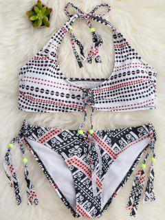 Tassels Polka Dot Bralette Bikini Set - White L