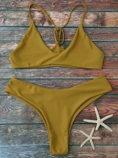 Spaghetti Strap Thong Bikini Set - Ginger M