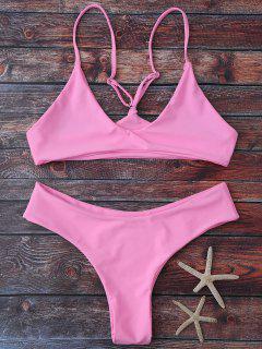 Spaghetti Strap Thong Bikini Set - Pink Xl