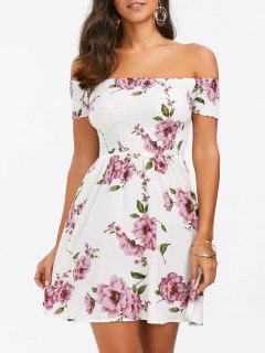 Blumenmuster Mini A-Linie  Hawaiian Skater Kleid - Weiß L