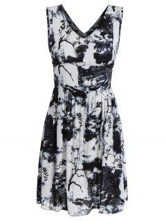 Sleeveless High Waist Dress With Chinese Painting - Multi M