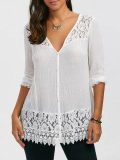 Lace Trim Button Up Bluse - Weiß M