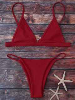 Ensemble Bikini à Bretelles Avec Décolleté Plongeant  - Rouge S