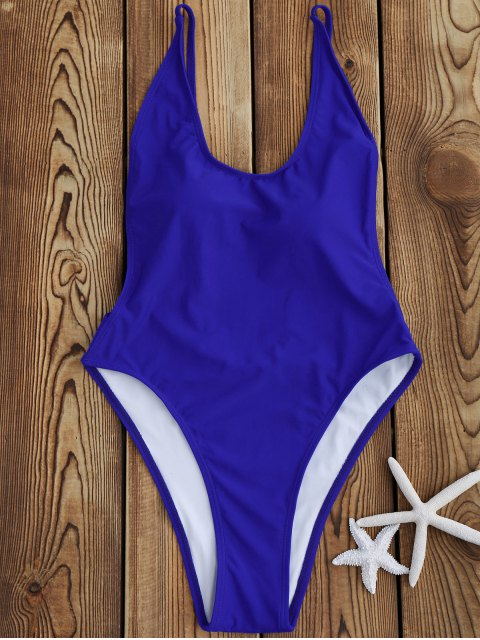 ladies Backless High Cut One Piece Swimsuit - SAPPHIRE BLUE L Mobile
