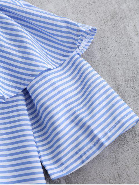 lady Off Shoulder Ruffle Striped Top - BLUE M Mobile