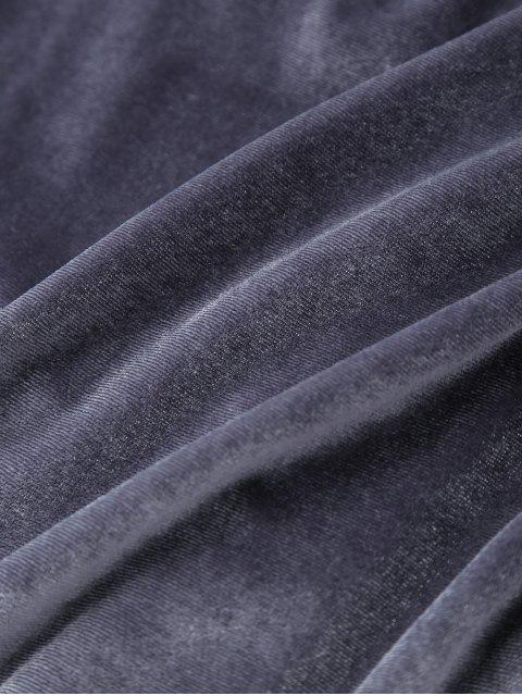 shop Plunging Neck Velvet Wrap Sleep Romper - GRAY M Mobile
