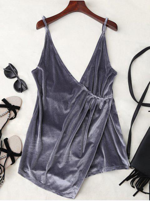 shop Plunging Neck Velvet Wrap Sleep Romper - GRAY M Mobile