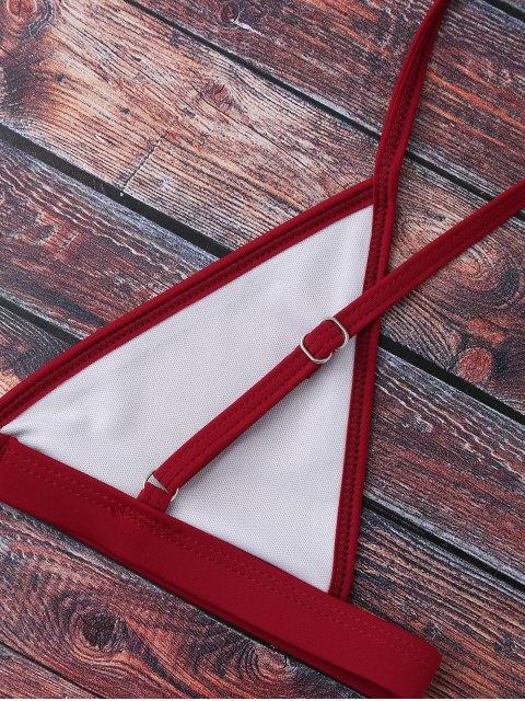 buy Cami Plunge String Bikini Set - BURGUNDY S Mobile