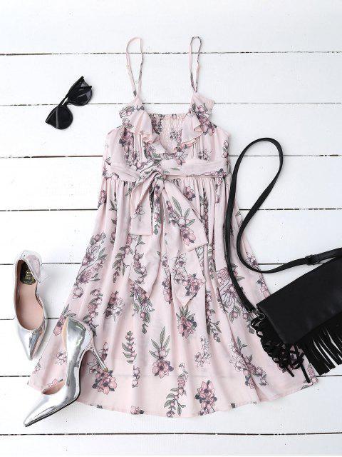 women Floral Print Flounced Beach Dress - PINK S Mobile