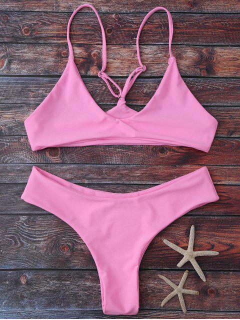trendy Spaghetti Strap Thong Bikini Set - PINK M Mobile