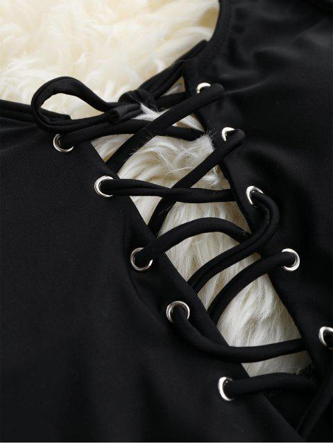 Bañador en una Pieza Delgado con Cordón Combinado - Negro L Mobile