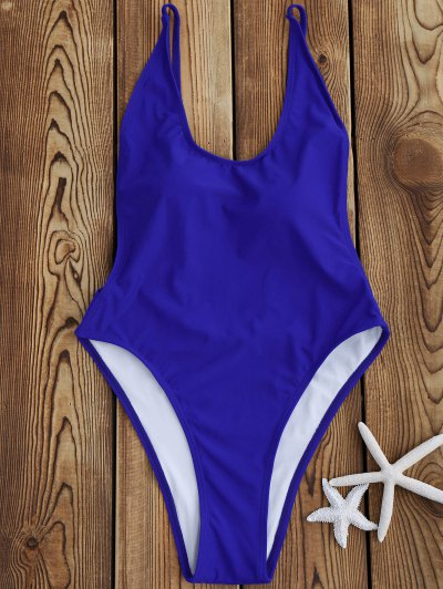 Backless High Cut One Piece Swimsuit - Sapphire Blue S
