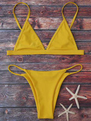 Bikinis Taille Haute Col Plongeant Bretelles Spaghetti - Jaune M