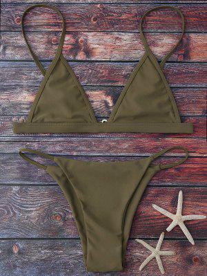 Bikinis Taille Haute Col Plongeant Bretelles Spaghetti - Vert Armée S