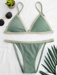 Two Tone Padded Bikini Set - Pea Green S