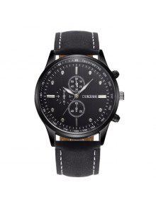 ساعة بجلد اصطناعي OUKESHI - أسود