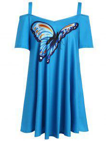 الفراشة طباعة الباردة الكتف زائد الحجم الأعلى - أزرق Xl