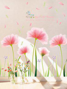 رومانسية تزهر زهرة طباعة الجدار ملصق للإزالة - وردي فاتح 60 * 90cm