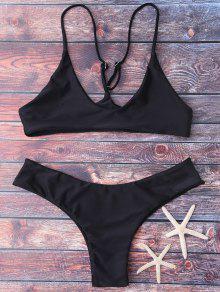 Spaghetti Strap Thong Bikini Set - Black S