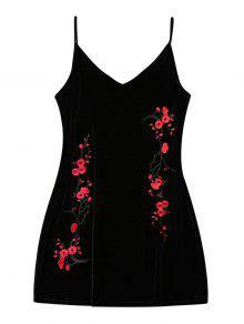 Bordado Floral Parche De Terciopelo Ropa De Dormir - Negro L