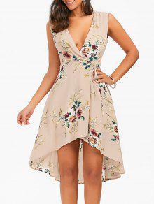 فستان طباعة الأزهار بلا أكمام عالية انخفاض لف - مشمش L
