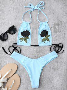 Embroidered Floral Patch Bathing Suit - Azure L