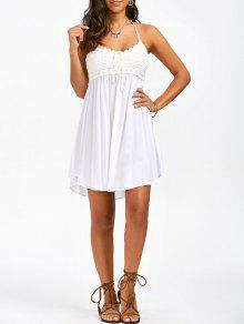 فستان الصيف محبوك رسن الرقبة  - أبيض M