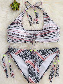 Borlas Del Lunar Bralette Conjunto De Bikini - Blanco L