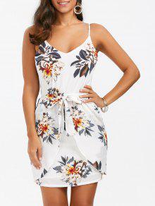 السباغيتي حزام الأزهار البسيطة الصيف اللباس - أبيض Xl