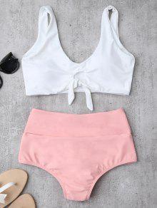Traje De Bikini Fruncido Anudado Con Cintura Alta - Rosa L
