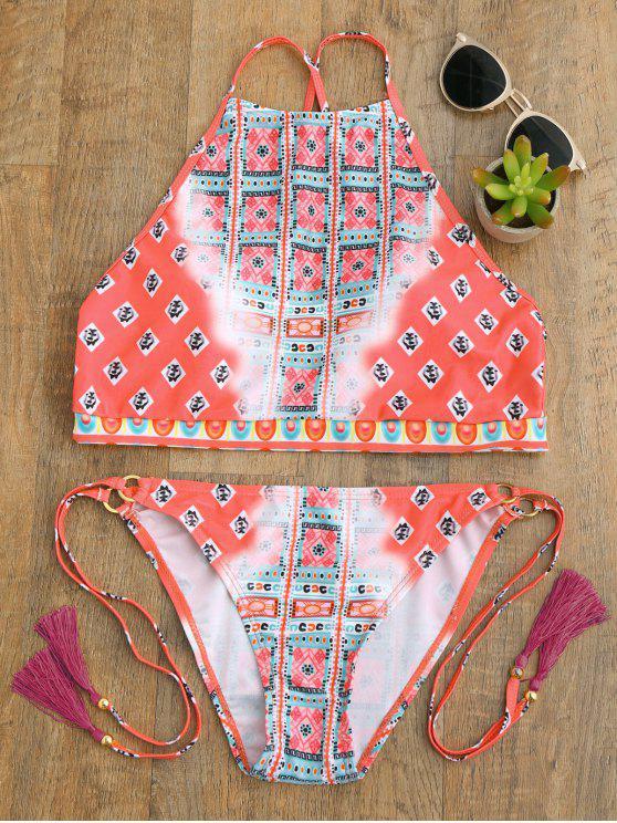 women's High Neck Tassels Tie Side Bikini - PEACH RED S