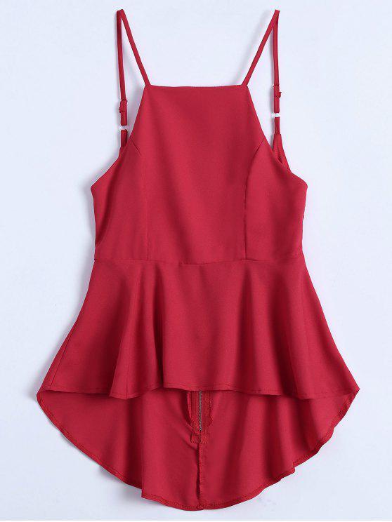 Slip de espalda Peplum Top - Rojo S