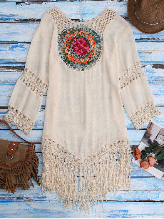 fashion Crochet Bib Beach Cover-Up Tunic - BEIGE ONE SIZE