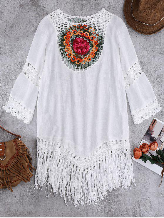 Crochet plage Bib Dissimulation Tunique - Blanc TAILLE MOYENNE