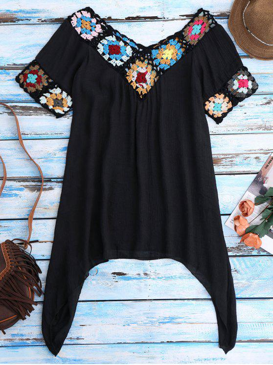 ladies Pointed Hem Crochet Beach Cover-Up Tunic - BLACK ONE SIZE