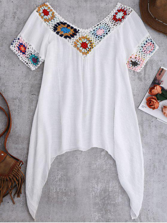 lady Pointed Hem Crochet Beach Cover-Up Tunic - WHITE ONE SIZE
