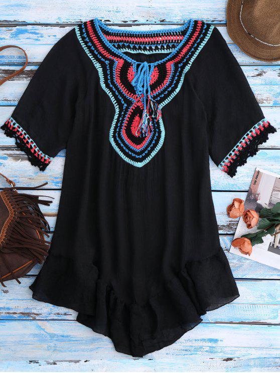 Ganchillo babero encubrimiento de la playa de trajes de baño - Negro Única Talla
