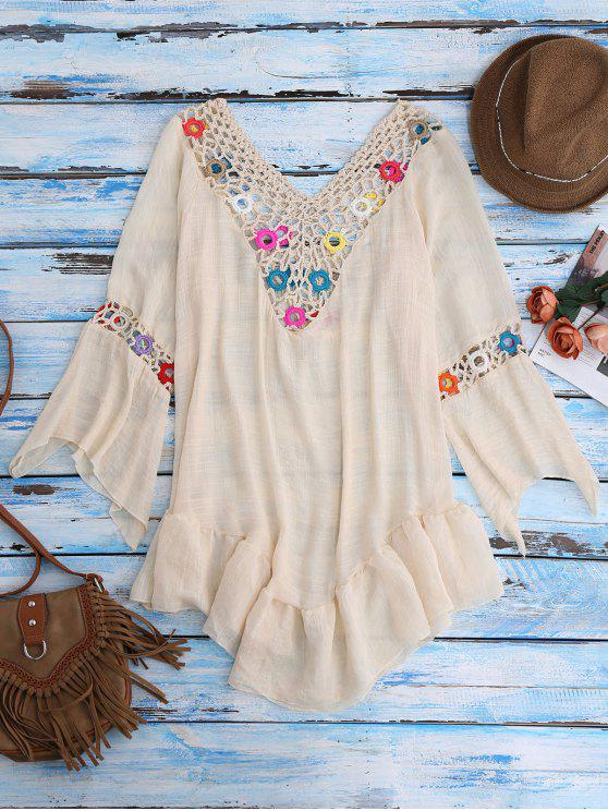outfits Bell Sleeve Beach Cover-Up For Swimsuits - BEIGE ONE SIZE