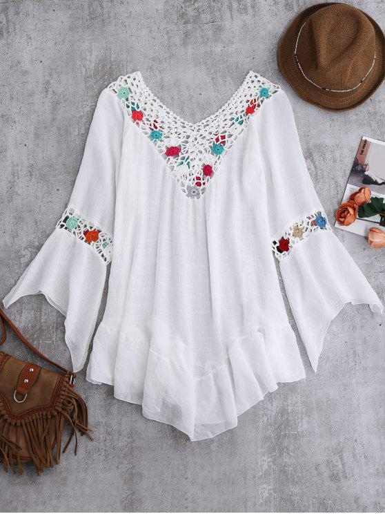 Bell manches Crochet plage Fleur Cover-Up - Blanc TAILLE MOYENNE