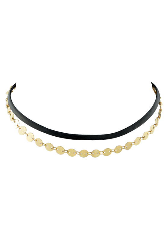 shop Faux Leather Sequins Choker - GOLDEN